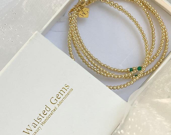 14k Gold and Emerald Waist Beads,African Waist Beads,14k Gold Waist Beads, Plus Size, Crystal Waist Beads,Waisted Gems, Christmas Gift