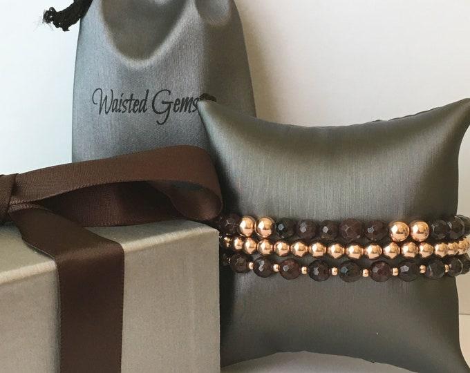 14kt Rose Gold and Garnet Beaded Bracelet, Beaded Bracelet Set, Stacking Bracelets, Stretch Bracelet, Jewelry, Silver Bracelet, Boho Jewelry