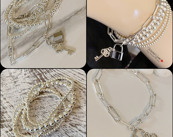 Silver Chain Padlock and Key Charm Bracelets, Anchor Chain,Milano link Chain, Large Link Chain, Padlock Charm Bracelet, Gifts for her
