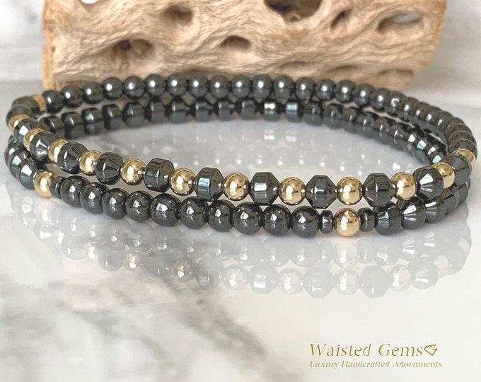 14k and Hematite 4mm Men Bracelet Set, Men gift ideas, Grey Bracelets, Men Beaded Bracelets, Hematite bracelets, Gold Bracelets for men.