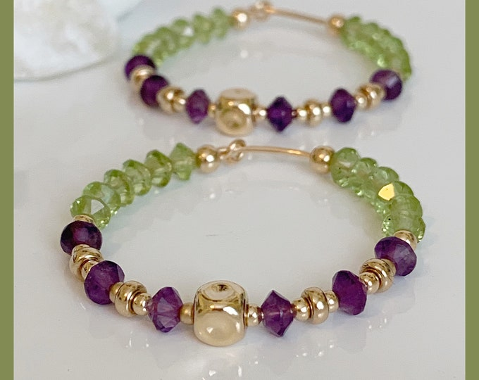 "14K Peridot and Amethyst Beaded Hoop Earrings, Beaded Hoops, 1.50"" Hoop Earrings, Statement Earrings, Beaded Earrings, Gold Hoops"