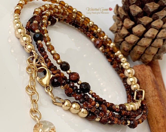 Harmony Waist Beads, Red Tiger 14k Gold and Gemstone Waist Beads, African Waist Beads, Crystal Waist Beads, Plus Size Waist Beads,