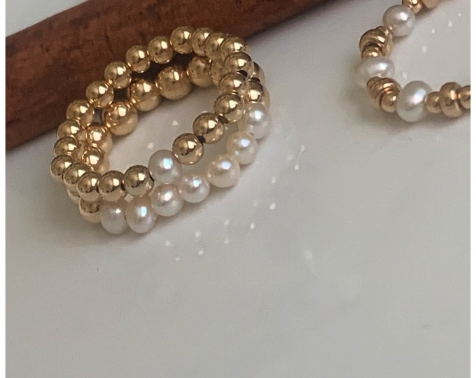 14k and Freshwater Pearls Beaded Ring 2pc Set, Pearl Rings, 14k Beaded Rings, Stackable Rings, Band Ring, Statement Rings, 14k Stretch Rings
