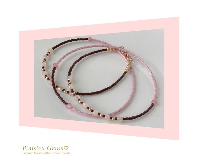 Sweets Waist beads, African Waist Beads, Belly Chain, Rose Gold Waist Beads with Clasp, Pink Waist Beads, Brown Waist Beads, Plus Size
