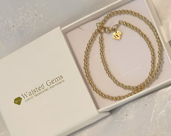 14k Beaded Necklace, Gold Beaded Ball Necklace, Gifts for her, Pearl Necklace, layering necklace, 14k Rose Gold Necklace, Charm Necklace