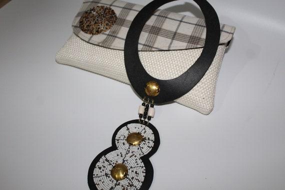 Handmade Ankara fabric Purse and Beaded Necklace Set , Beaded Chokers, Zullu Beaded Necklace, African Jewelry,  Ankara fabric handbag,