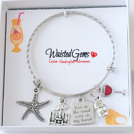 Toes in the Sand Wine in My Hand Custom Twisted Bracelet, Beach Wear, Fun Key Chains, Adjustable Bracelet, Summer Party,  zmw3341.9