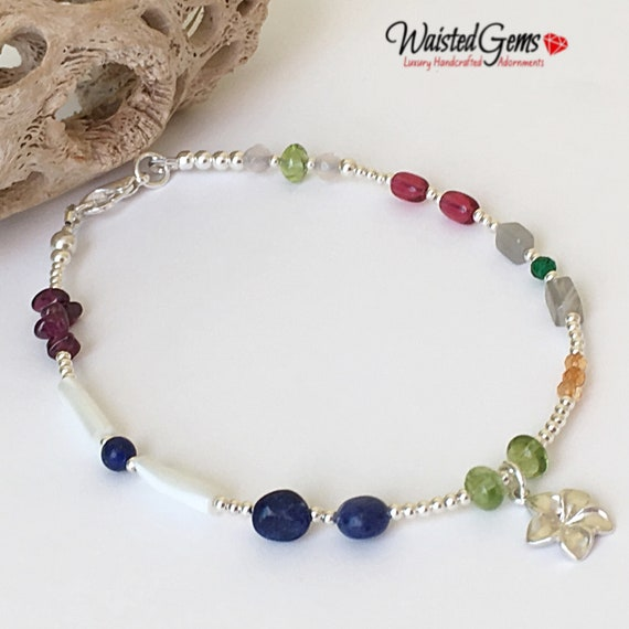 Gems on display anklet, Sterling Silver Anklet, Gemstone Anklet, Anklet with charms, Charka Anklet, Sterling Silver Barefoot Sandals.