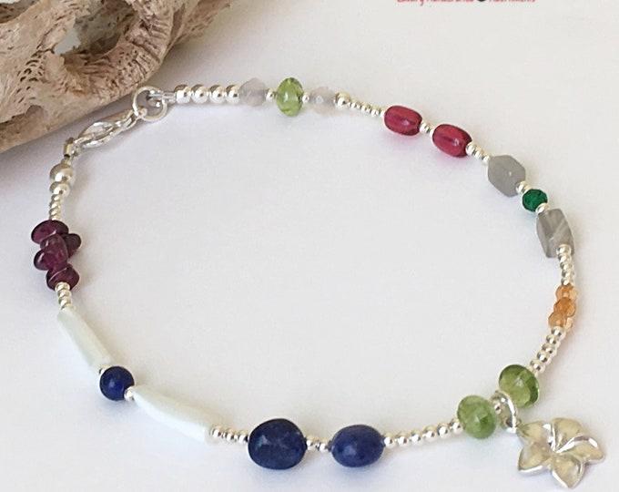 Anklet Bracelet | Silver Crystal Anklet | Silver Anklet Bracelet with Charm | Silver Anklet Bracelet Set | Dainty Anklet for Women |