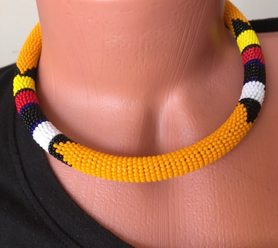 Color Choice Maasai Beaded Necklace, Beaded Chokers, Zullu Beaded Necklace, African Jewelry