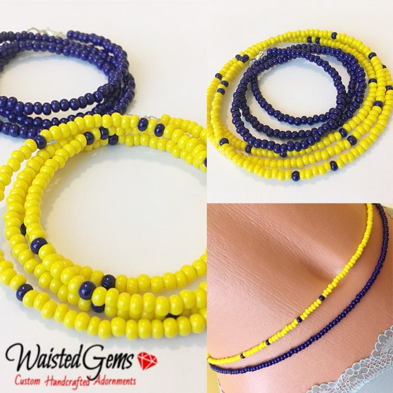 2 pc Yellow and Blue Waist Bead Set, Yellow Waist Beads, WaistBeads, Waist Chain, Belly Chain, Blue Bikini, Gifts for Her, Sale