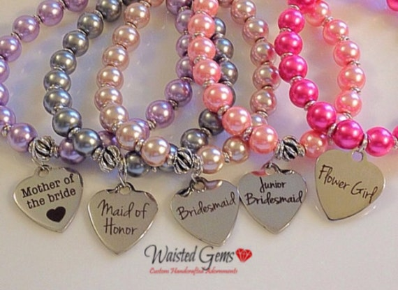 Bridal Party Bracelets, Flower Girl, Maid of Honor, Bridesmaid, Jr. Bridesmaid, Wedding Party Gifts, Pearl Bracelets zmw1971-1