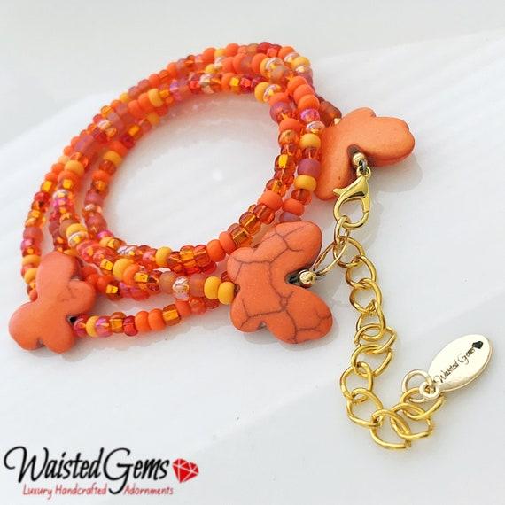 Orange Burst Waist Beads, Orange Waist Beads, WaistBeads, Waist Chain, Belly Chain, Orange Bikini, Gifts for Her, Sale