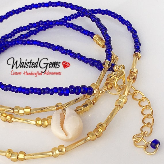 Royal Goddess Waist beads, Blue Waist beads, waist chain, body Jewelry, African Waist Beads, Gifts for her, Waist Bead with charms  zmw30.9