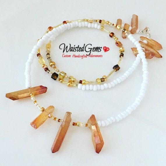 White Bliss Waistbeads, Waist Beads, Belly Chain, Body Jewelry, boho jewelry, Necklace, Waist Chain, Summer Jewelry, White Two Piece