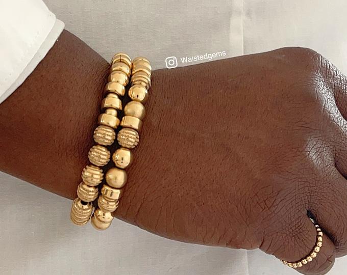 14k Gold Bracelet Set   2 PC Bracelet Set   Handmade Beaded Bracelets   Gold Stretch Bracelet   Mothers Day Gifts, 14k Yellow Gold