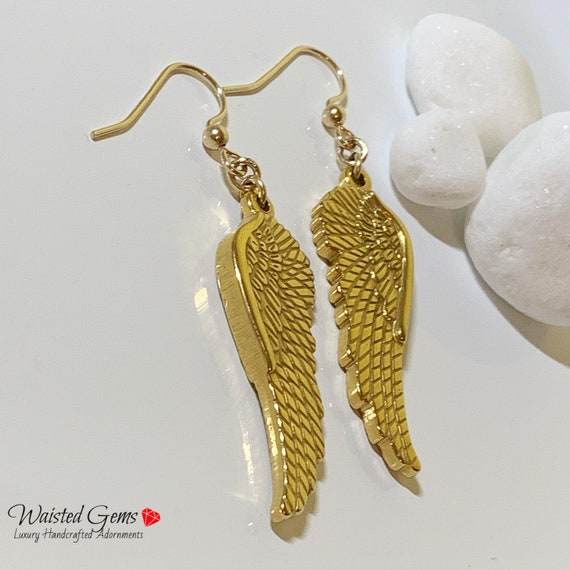 14k Clip-on or Pierced Wing Earrings, Gold Clip-on Earrings, Charm Earrings, Gifts for Her, Gold Filled Earrings, Dangle Angle Wings Earring