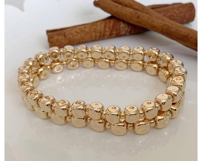 14k Gold Cube Beaded Bracelet | Stacking Bracelets | Stretch Bracelet | Yellow Gold Shiny Beaded Bracelet |  Matching Jewelry
