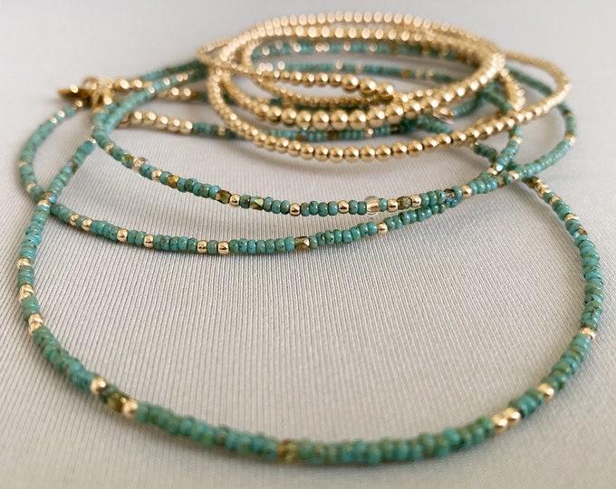 Picasso Waist Beads, African Waist Beads, Green Waist bead, Waist Beads With Clasp, 14k Waist Beads, Gold Waist Beads, Waist Gems