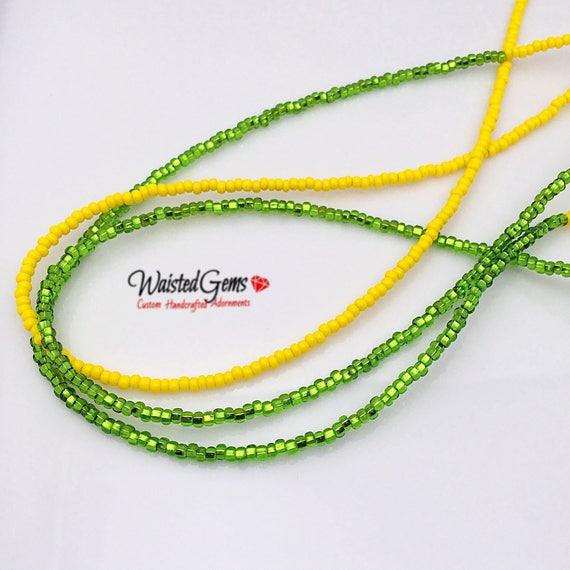 Lemon Lime 3 pc Waist Bead Set, African Waist Beads, Crop Top, Belly Chain, Waist Beads, Waist Trainer, Gifts for her