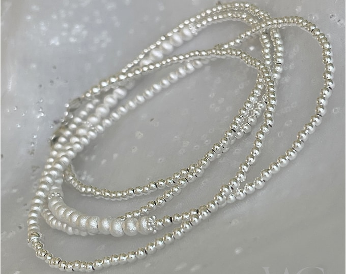 Sterling Silver Sandblast Waist Beads | African Waist Beads | Silver Bead Necklace | Silver Belly Chain | Matte Silver Beads | Plus Size