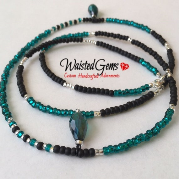Teal Drop Waist Beads, WaistBeads, Waist Chain, Belly Chain, Black Bikini, African Waist Beads, Waist Chain,