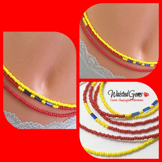 3 pc Yellow and Red Waist Bead Set, African Waist Beads, Crop Top, Belly Chain, Waist Beads, Waist Trainer, Gifts for her