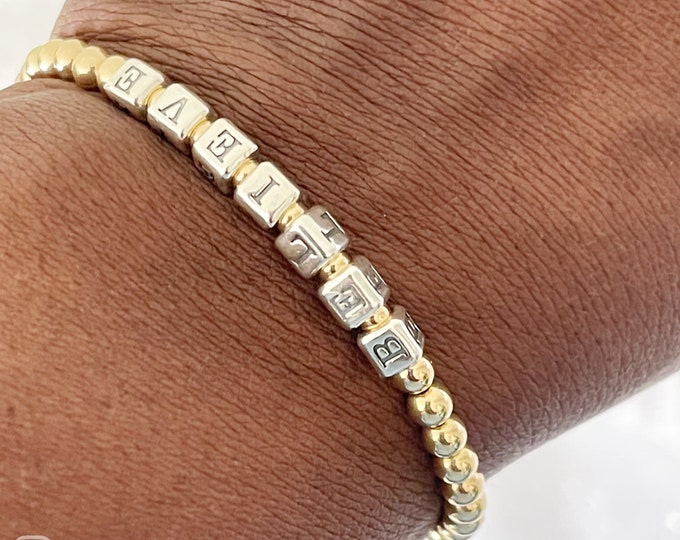 14k Beaded Name Bracelet | Custom Beaded Bracelet | Gold Name Bracelet | Personalized gift | Gold Stretch Bracelet | Gold Ball Bracelet