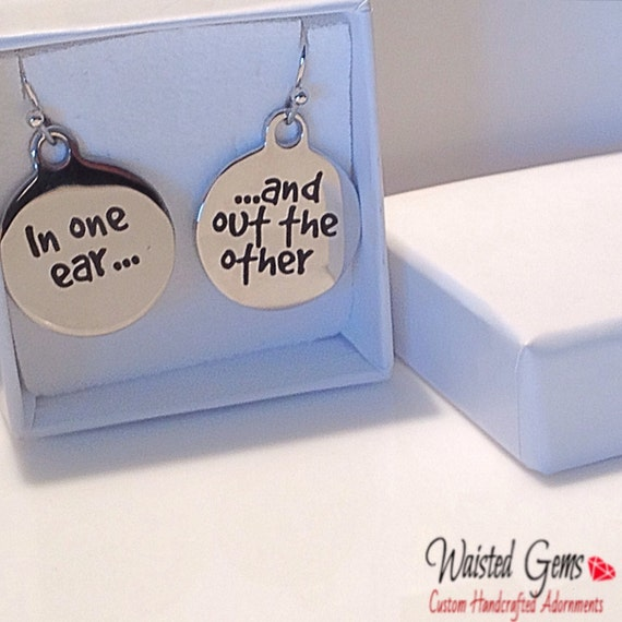 In one ear out the other earrings, Earrings, Stainless Steel Earrings, Birthday Gift, Gifts for her, Fun Jewelry  zmw19721