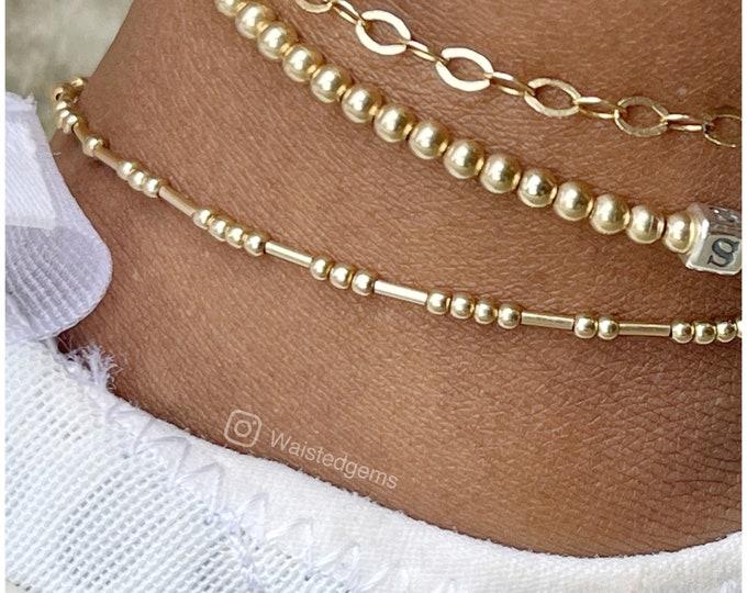 14k Gold Ankle Bracelet | Boho Ankle Bracelet | Matching Jewelry Set | Gifts for Her | Dainty Gold Ankle Bracelet | Shiny Bead Anklet