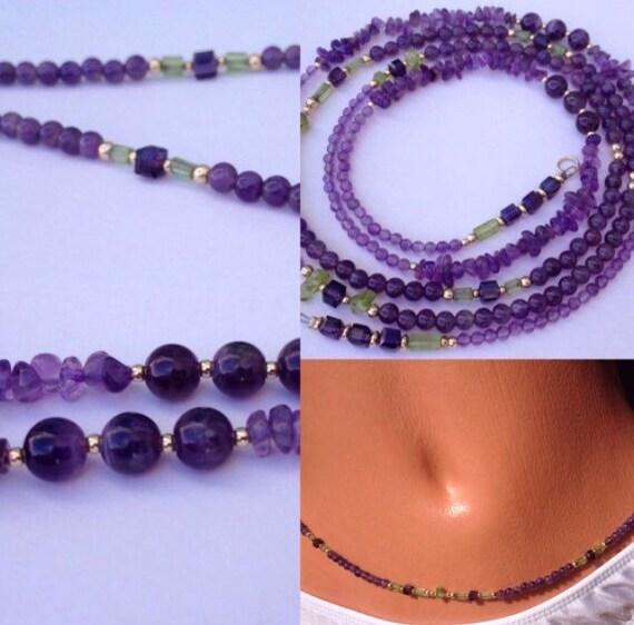 14k Amethyst and Peridot Waist Beads Waistbeads , Aquarius Birthday Waistbeads, belly chain, Birthday Gift Ideas, Body Jewelry zmw7777