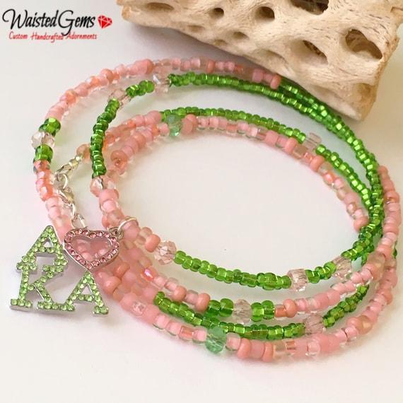 AKA Waist Beads, WaistBeads, Green and Pink Waist Beads, Belly Beads, African Waist Beads, Waist Gems, Waist Beads with Charms,