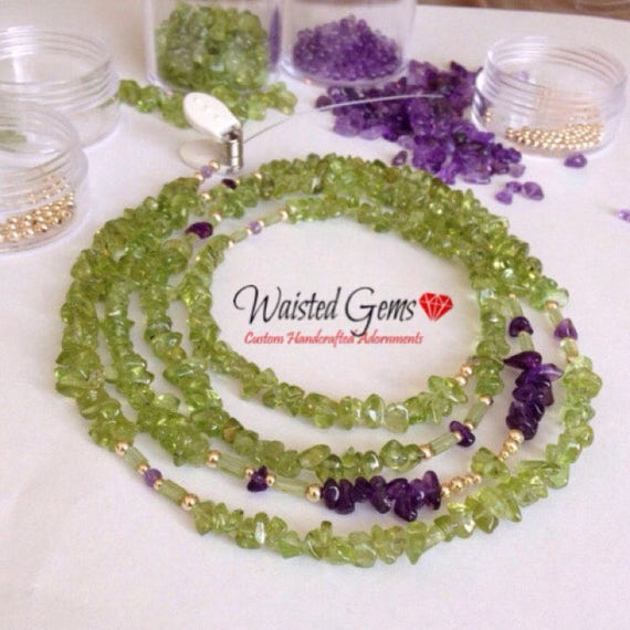 14k Peridot and Amethyst Waist Beads, Belly Chain, Waistbeads with clasp, african waist beads, bikini, waist gems, Boho Jewelry zmw4781