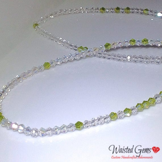 Peridot Swarovski Crystal Waistbeads, Waist Beads, body beads, belly chain, crystal jewelry zmw43