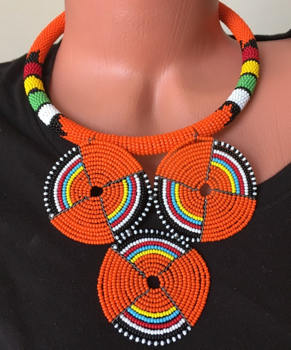 Color Choice of Maasai Beaded Pendant Choker, Maasai African Necklace, Beaded Choker, African Attire,