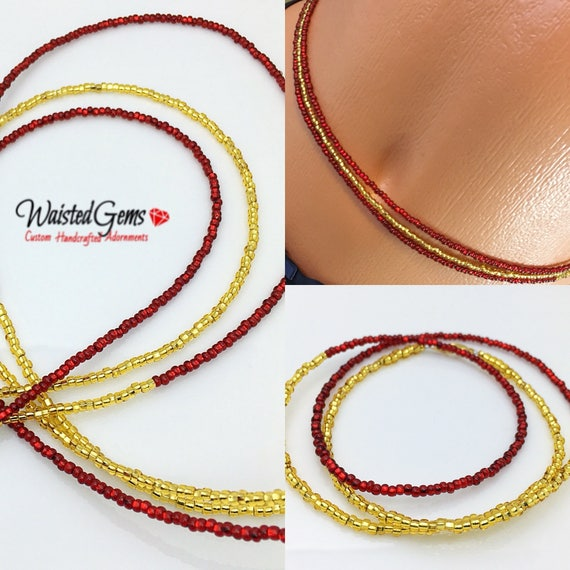 Red and Gold 3 pc Waist Bead Set, African Waist Beads, Crop Top, Belly Chain, Waist Beads, Waist Trainer, Gifts for her