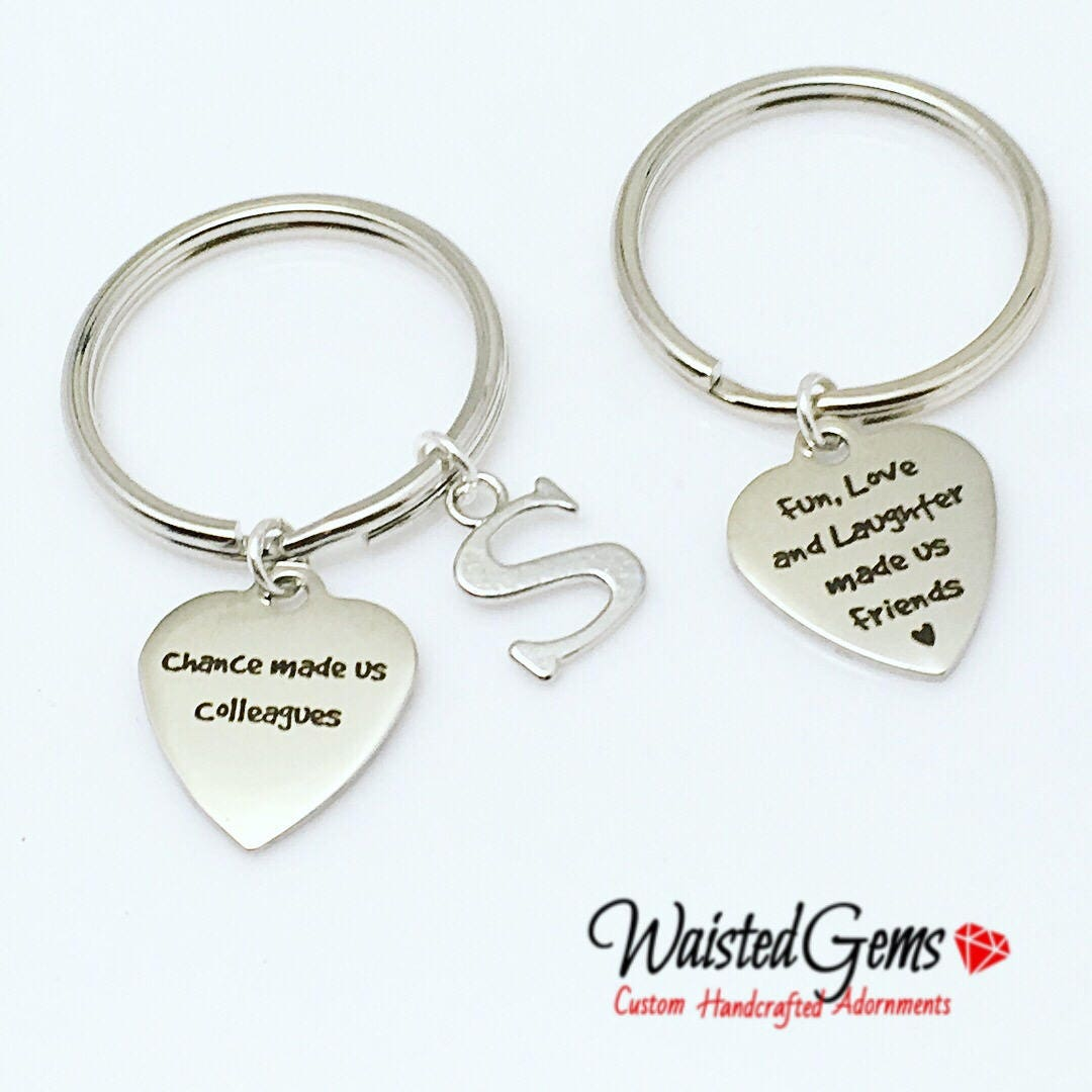 Colleagues Custom Charm Keychain Birthday Gifts Co Workers Employee Grab Bag Zmw912
