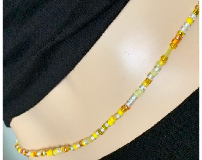SAMPLE SALE - Size 27  Yellow Waist Bead,  Waist beads, waist chain, body Jewelry, Plus Size Waist Beads, Purple Waist Bead