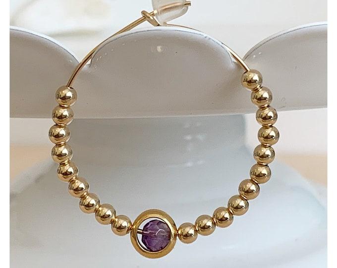 """Gold Beaded Hoop Earrings   Beaded Hoops    1.50"""" Hoop Earrings   Statement Earrings   Gold Hoops"""