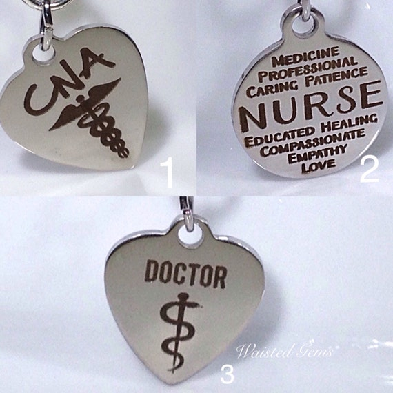 Choice Of - Custom Medical Charm Add-On Initial Charm Necklace, Charm Bracelet,Waistbead Charms  zmw1988-1