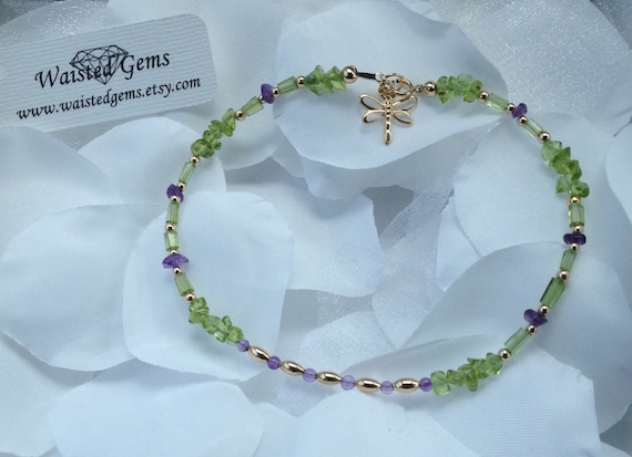 14k Peridot and Amethyst Anklet, Gemstone Anklet, Summer Jewelry, Purple Anklet, Crystal Anklet zmw5432