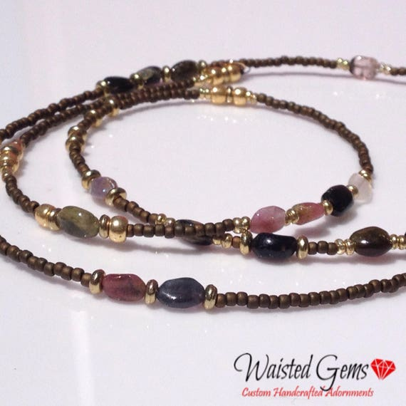 Tourmaline Gemstone Waistbeads , waistbeads, waist beads, belly chain, necklace, zmw22247