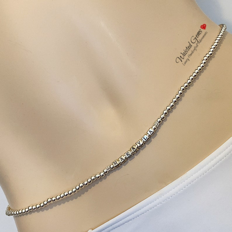 African Waist Beads,Silver Belly Chain gift for her Personalized Sterling Silver Waist Beads Personalized Gift plus size waist beads