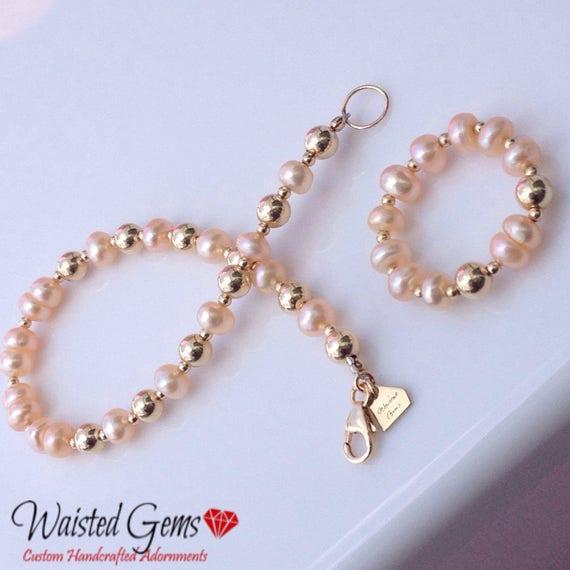 14k Gold Pearl bracelet, Beaded Bracelet, Gift for her, Pearl Ring Gold, gold Ring, Valentines Gift, pearl bracelet, 14k Ring, zmw93343.23