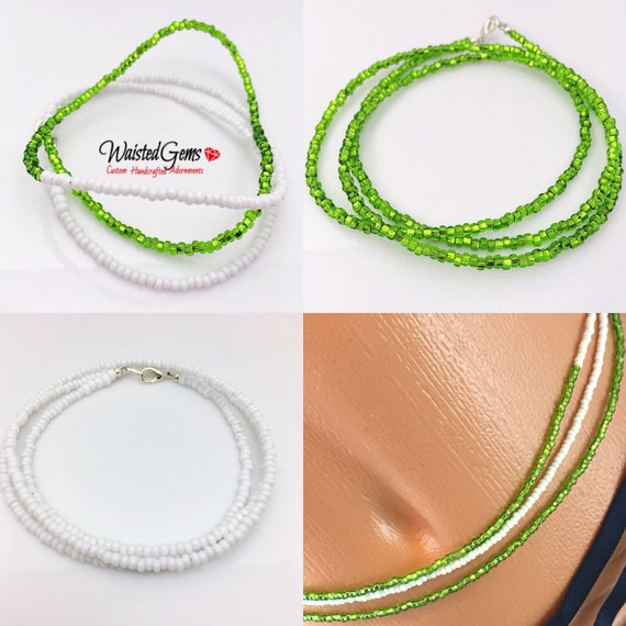 Green and White 3 pc Waist Bead Set, African Waist Beads, Crop Top, Belly Chain, Waist Beads, Waist Trainer, Gifts for her