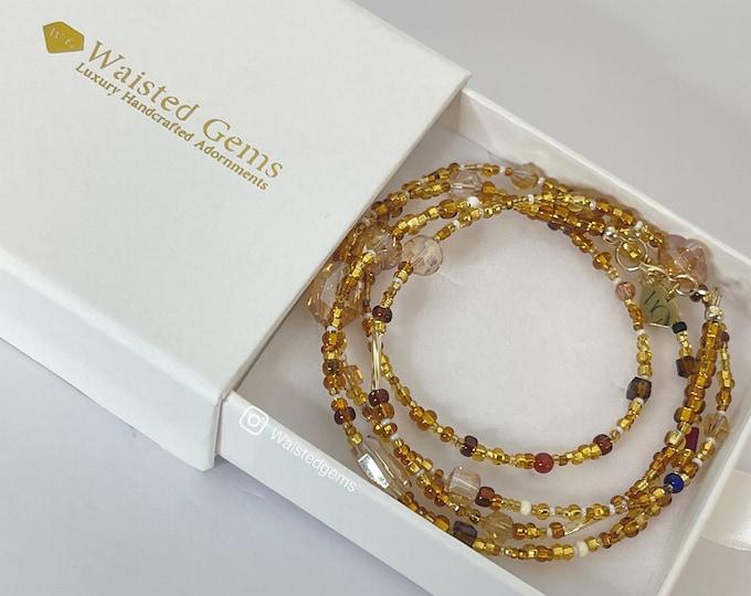 Treasure Chest Waist Beads | Beige Waist beads |  Brown Waist Beads | Crystal Waist Beads | Gold Waist Bead | Natural African Waist Beads
