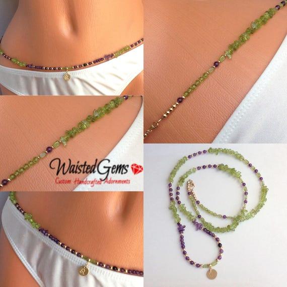 14k Peridot and Amethyst Waist Beads Waist Beads , Leo Birthday Waistbeads, Leo Birthday gifts, belly chain, body Jewelry, gemstone  zmw0990