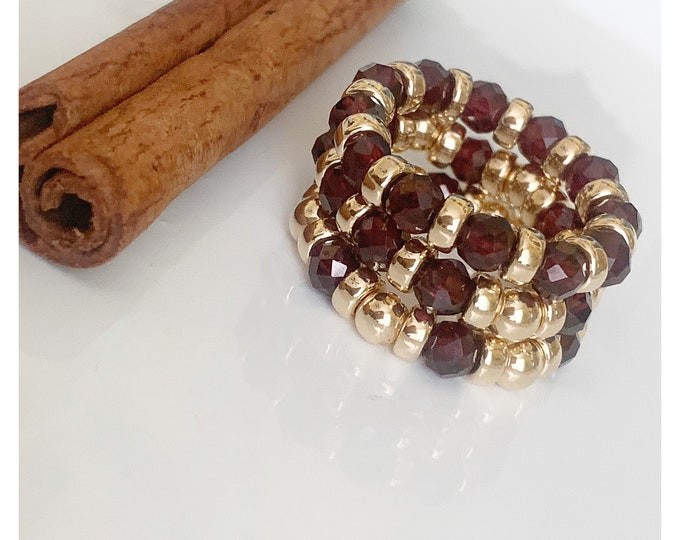 14k Garnet Beaded Ring, Gemstone Ring, 14k Beaded Rings, Stackable Rings, Band Ring, Statement Rings, 14k Stretch Rings
