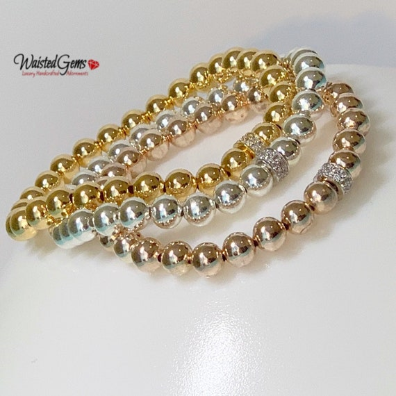 6mm Beaded Bracelet, Stacking Bracelets, Stretch Bracelet, Jewelry, Gold Beaded Bracelet, Gold Beaded Bracelet, Sterling Silver Bracelet