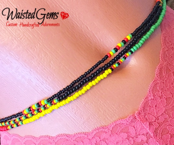 Rasta Triple Strand Waist Beads, Waistbeads, belly chains, Body Jewelry, Red Yellow and Green, belly beads,  zmw55642